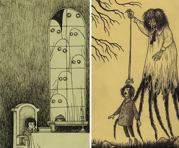 605x503 Artist Draws Terrifying Monsters On Sticky Notes Bored Panda