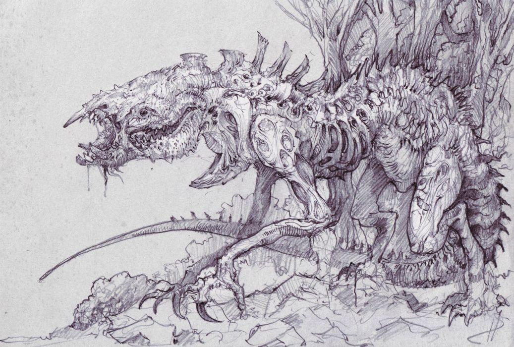 1037x700 Dark Fantasy Evil Scary Creepy Spooky Art Drawing Monster Creature