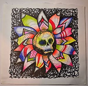 300x293 Original Abstract Gothic Psychedelic Creepy Skulls Drawing,unique