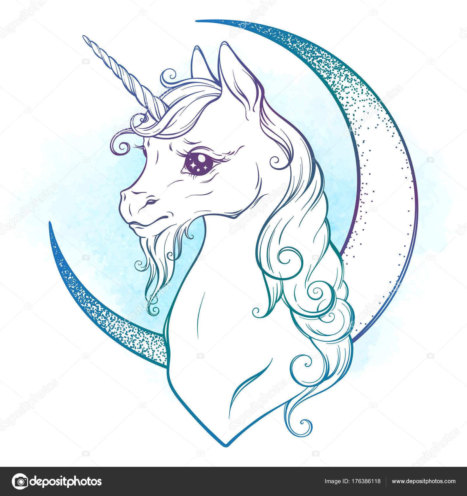 1600x1700 Little Unicorn And Crescent Moon In Pastel Colors Isolated