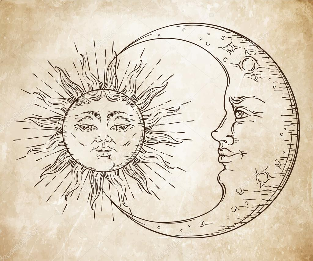 1024x853 Antique Style Hand Drawn Art Sun And Crescent Moon. Boho Chic