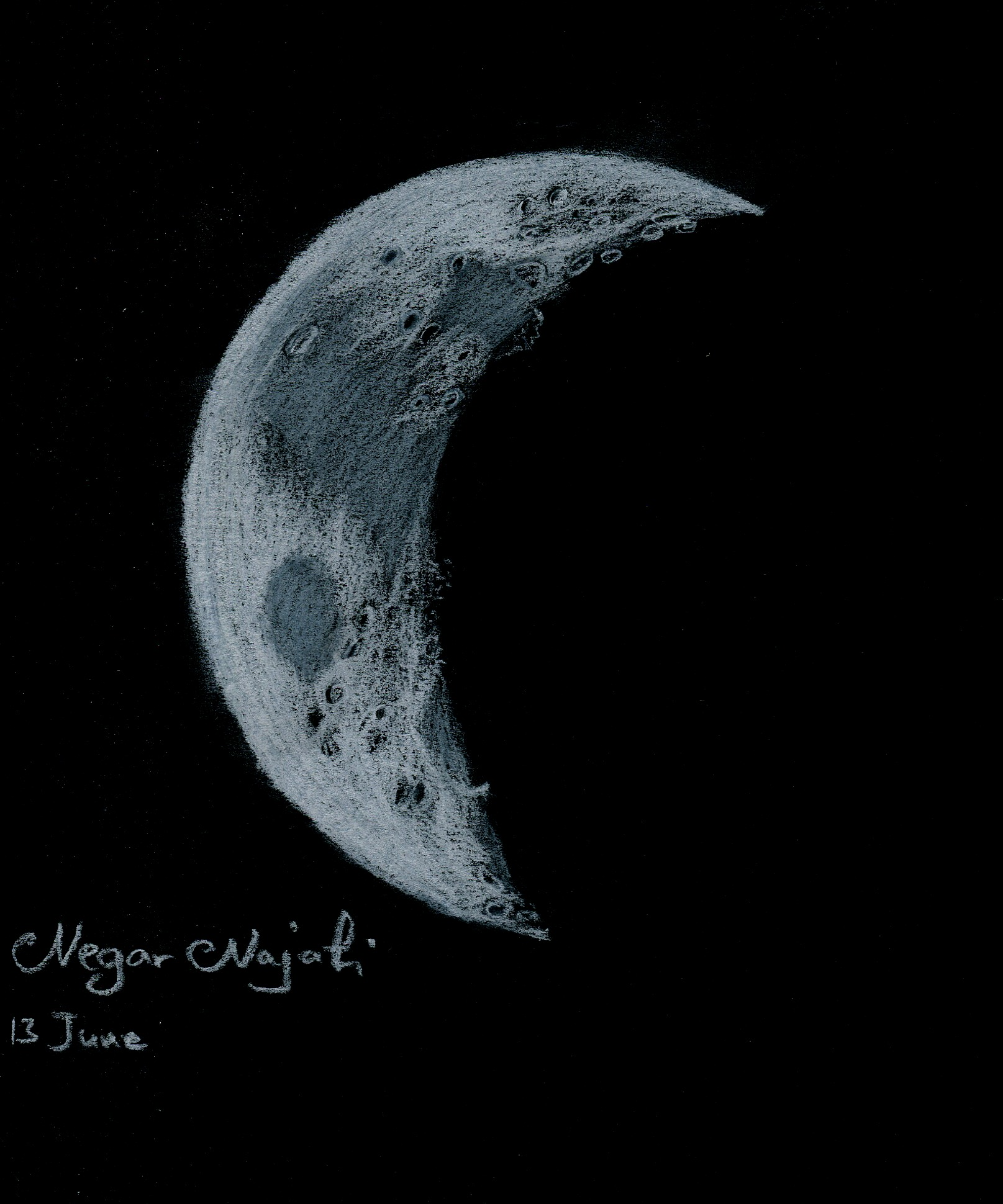 1615x1940 Crescent Moon June 13, 2013 Astronomy Sketch Of The Day