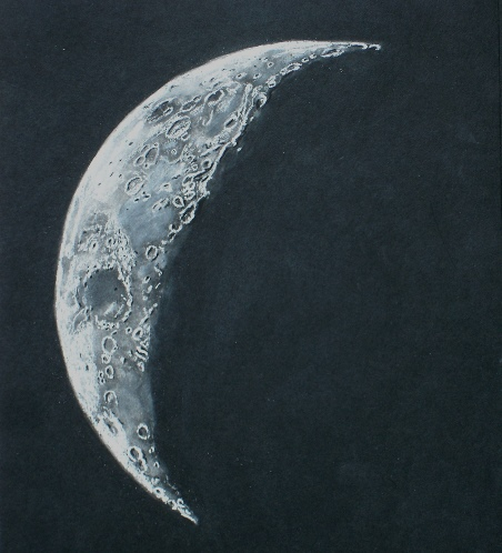 452x498 Four Day Old Waning Lunar Crescent Astronomy Sketch Of The Day