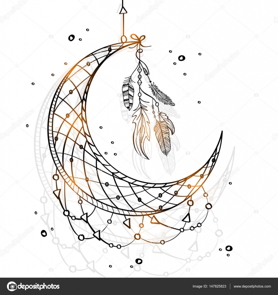 963x1024 Hand Drawn Dream Catcher With Crescent Moon. Stock Vector