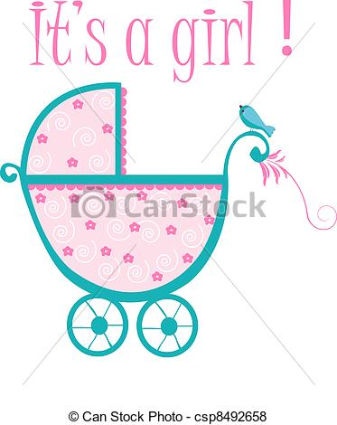 373x470 Baby Crib Card To Welcome To New Baby Girl Vector