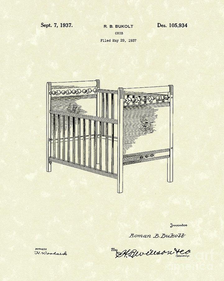 720x900 Crib 1937 Patent Art Drawing By Prior Art Design