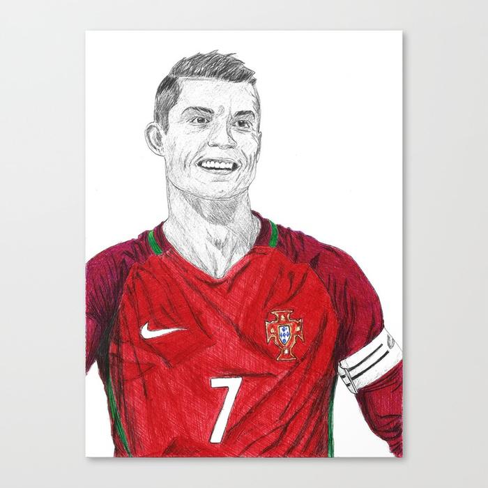 700x700 Cristiano Ronaldo Ballpoint Pen Drawing Canvas Print By