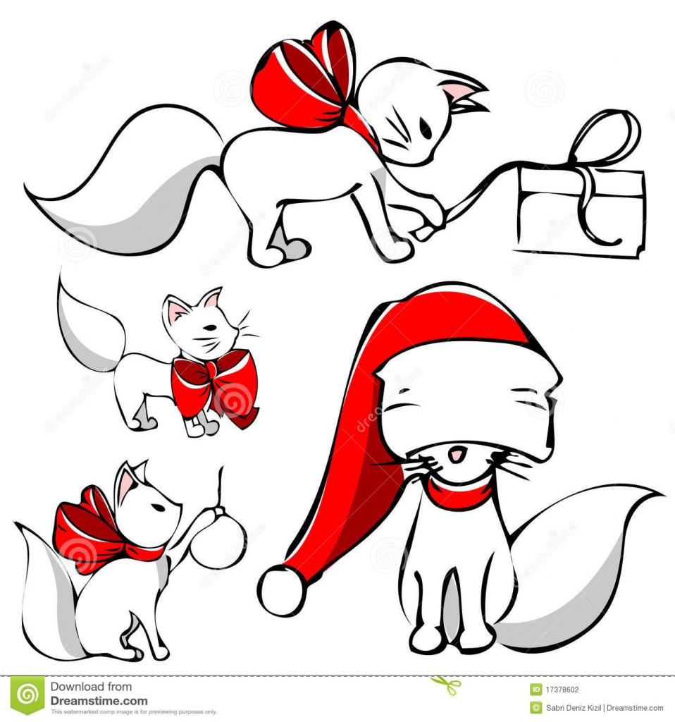 958x1024 Cute Christmas Drawings Cute Christmas Cat Clipart