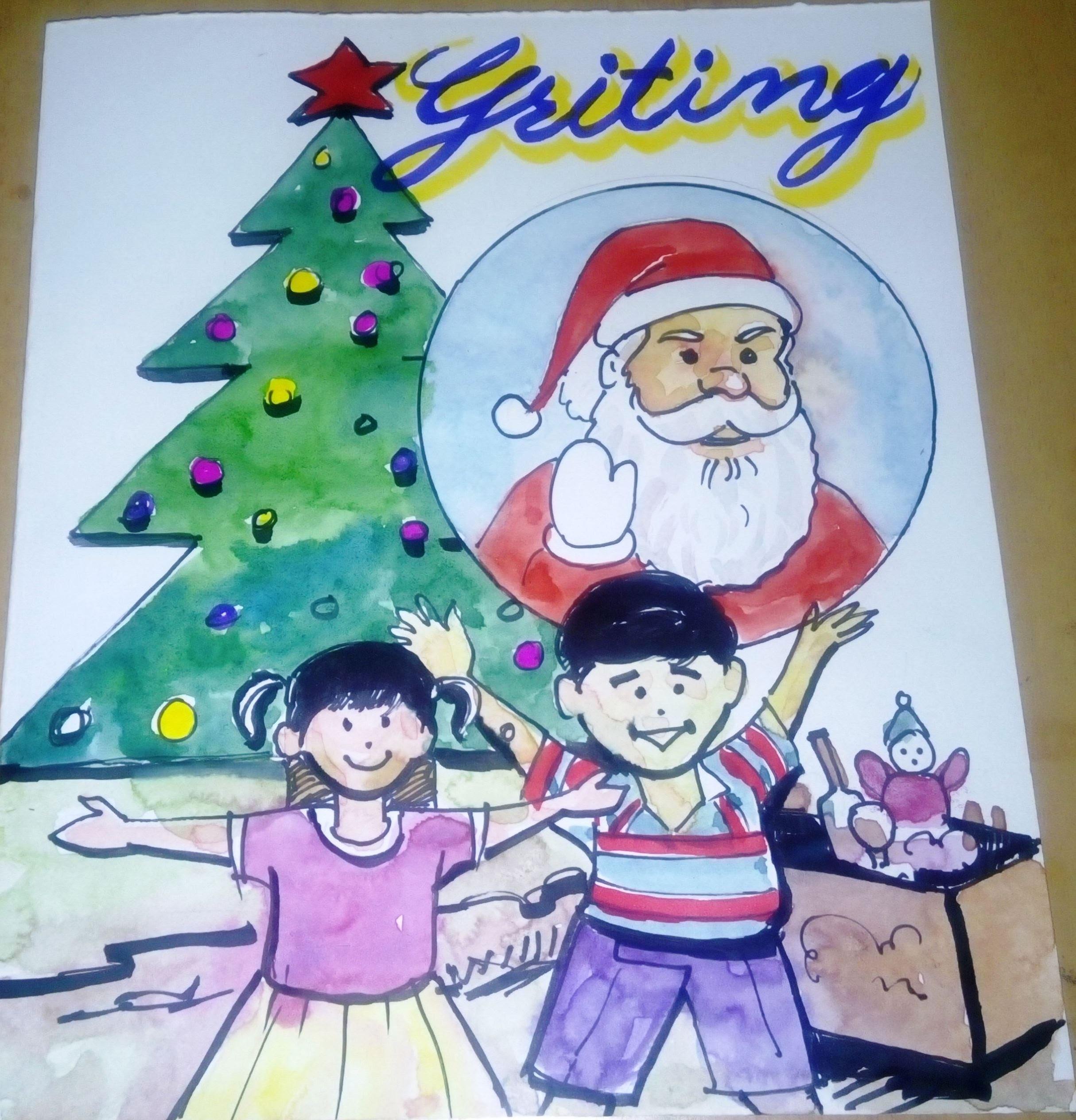 2429x2528 Merry Christmas Drawing