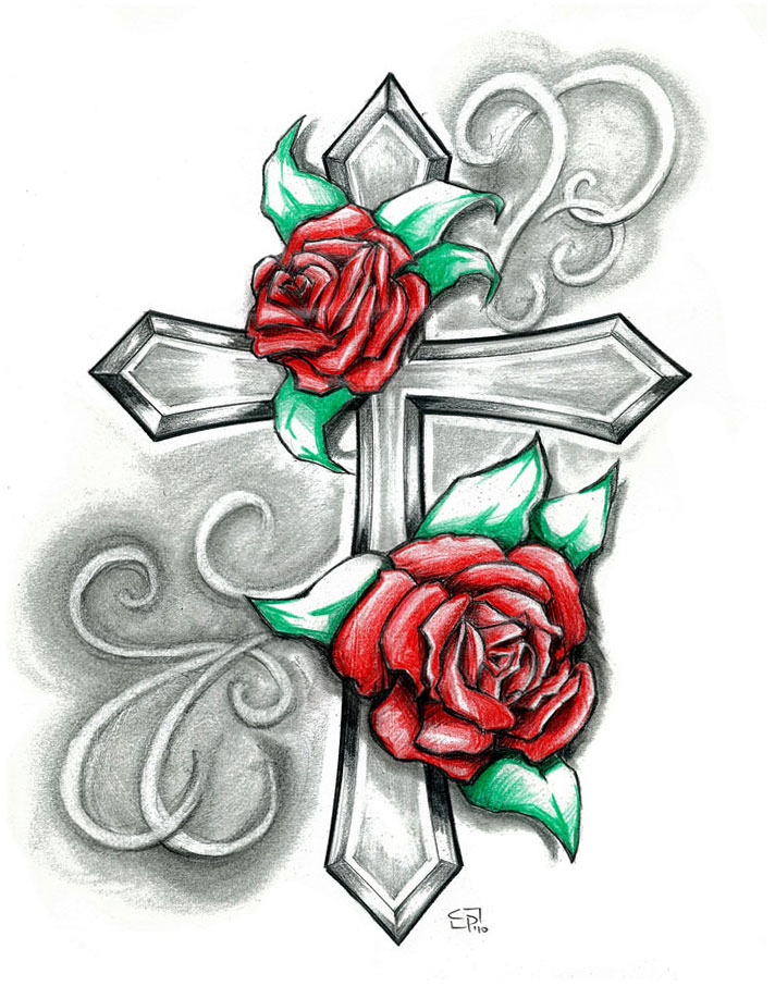 712x906 Beautiful Drawing Rose And Cross Design