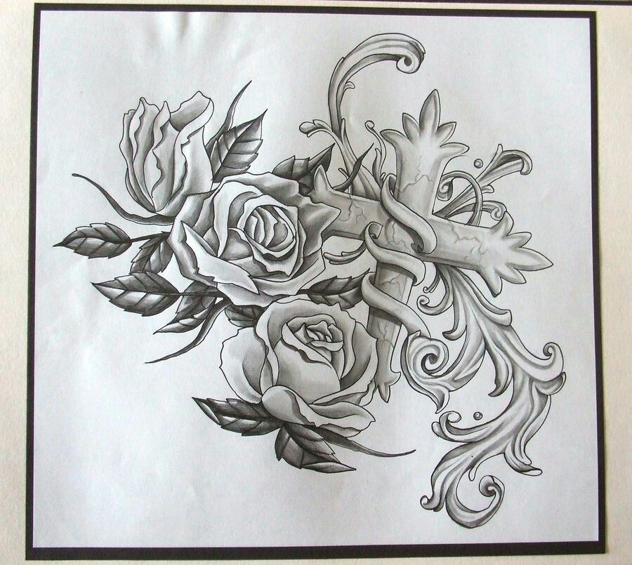 900x805 Cross And Roses Tattoo Tattoo Flash Tattoo, Tattoo