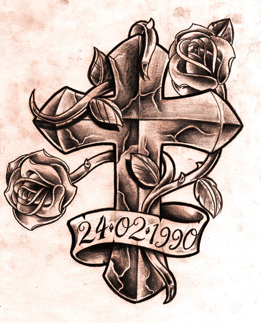538x665 Example Image For Cross And Roses Tattoo