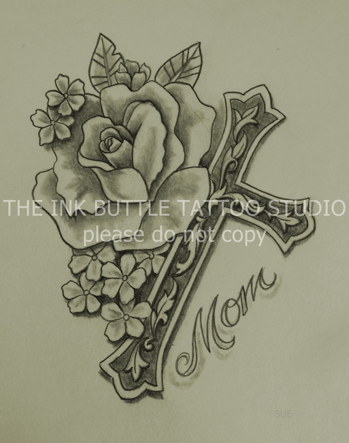 1459x1849 Cross, Rose, Tattoo, Suzanne Buttle, Wakaw, Saskatchewan Tattoos