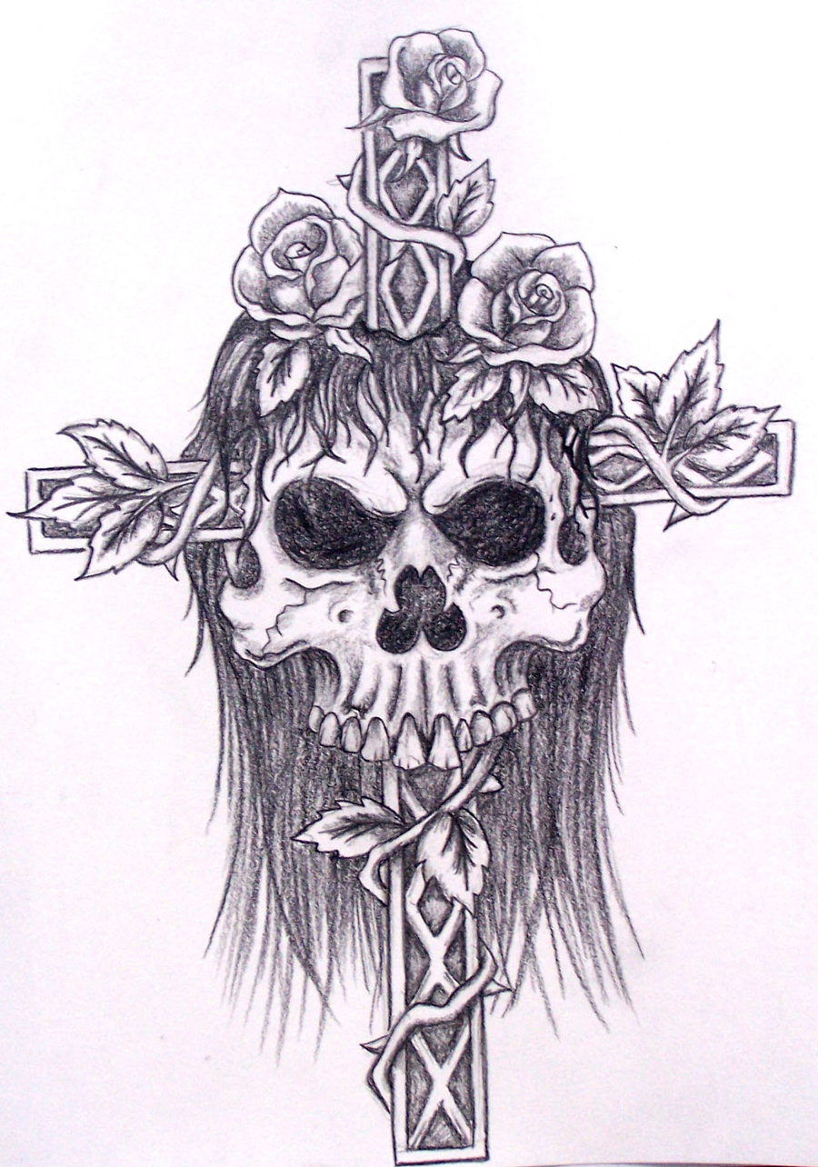 900x1284 Skull With Cross And Roses By Davart11