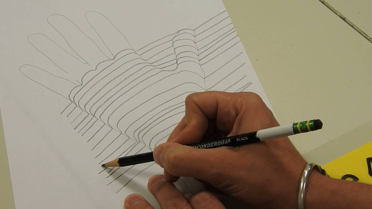 1280x720 Cross Contour Line Drawing Of Your Hand
