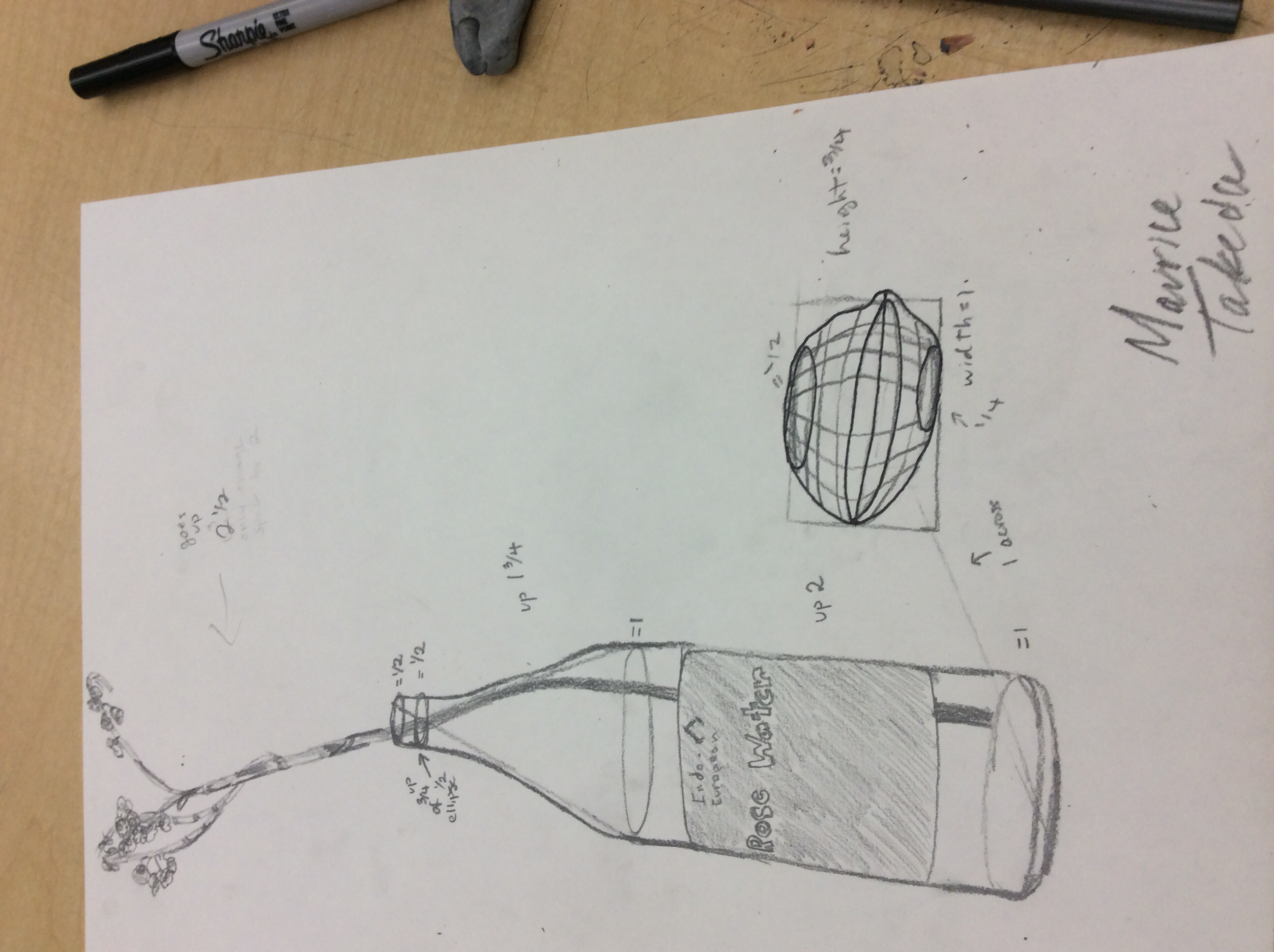 2592x1936 Bottle Fruit And Flower Drawing With Cross Contour On Fruit