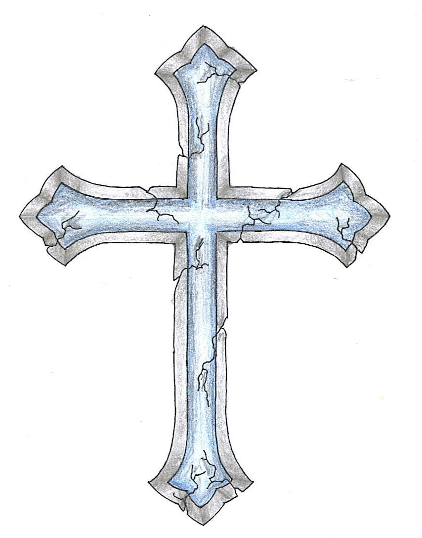854x1088 Cracked Cross Tattoo Design, Want A Different Cross With The Same