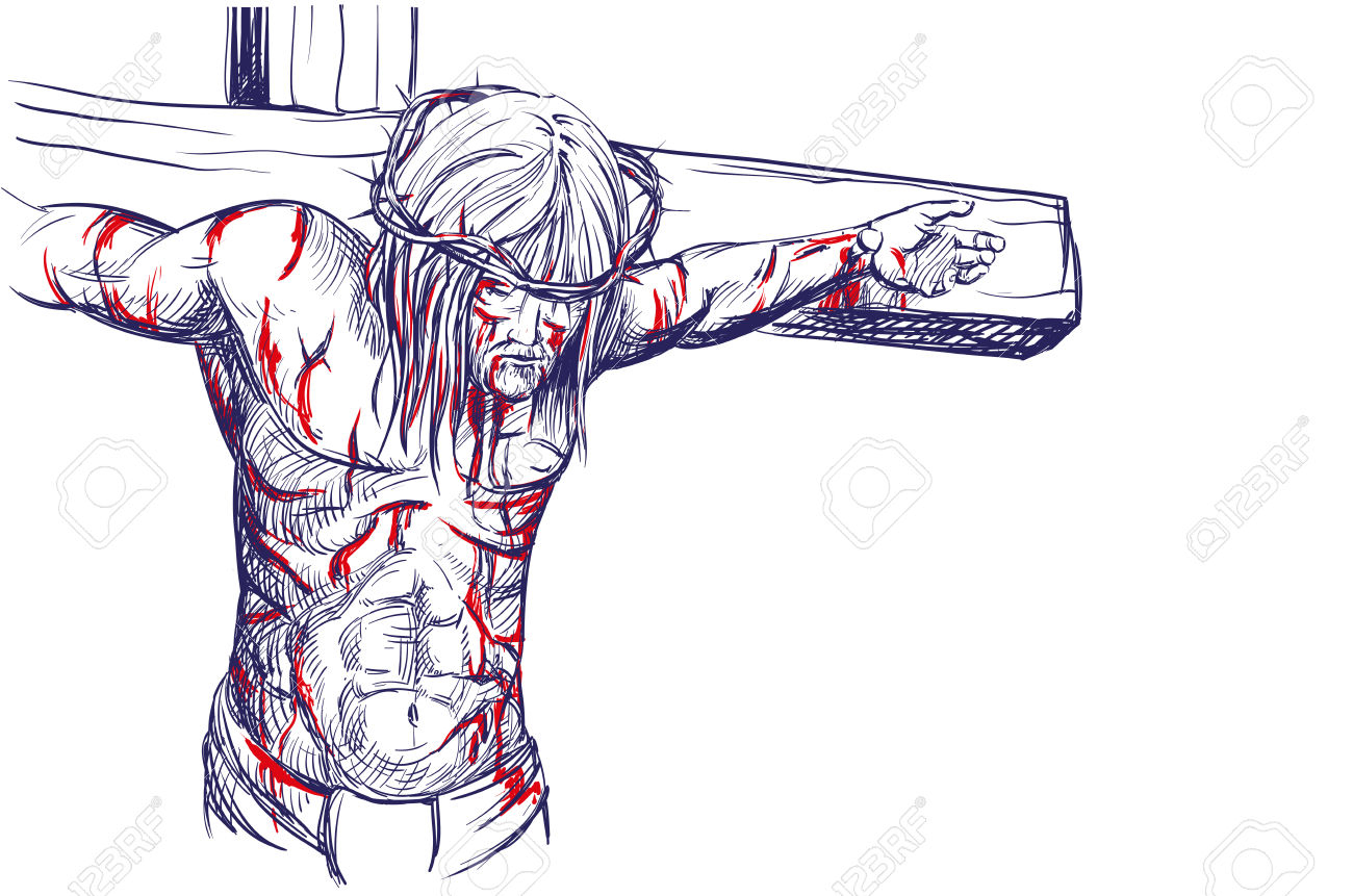 1300x861 Realistic Drawings Of Jesus On The Cross Best Cross Drawing