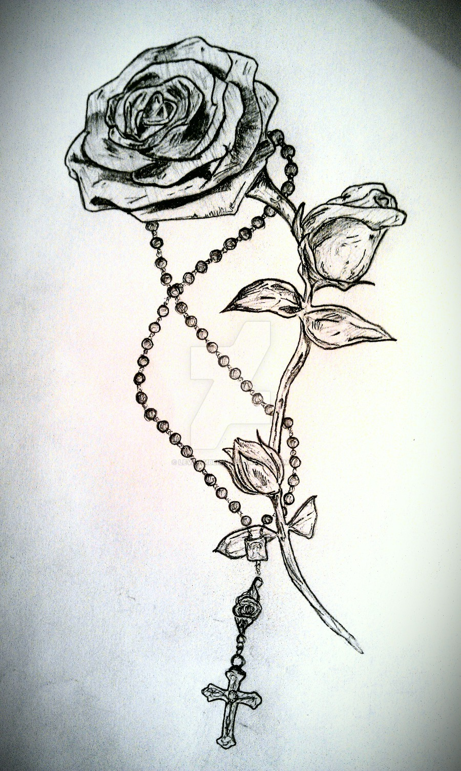 900x1505 Cross And Rosary Tattoo Drawing By Ytse80