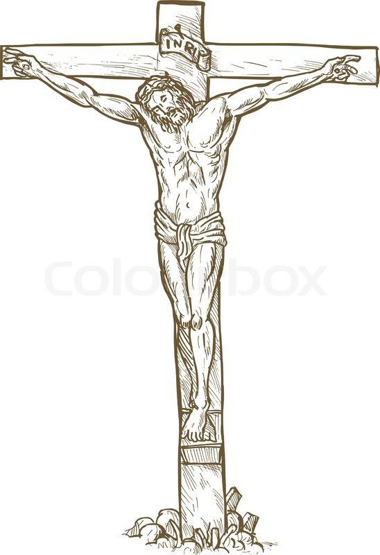 548x800 Jesus Christ Cross Drawing Stock Vector Colourbox