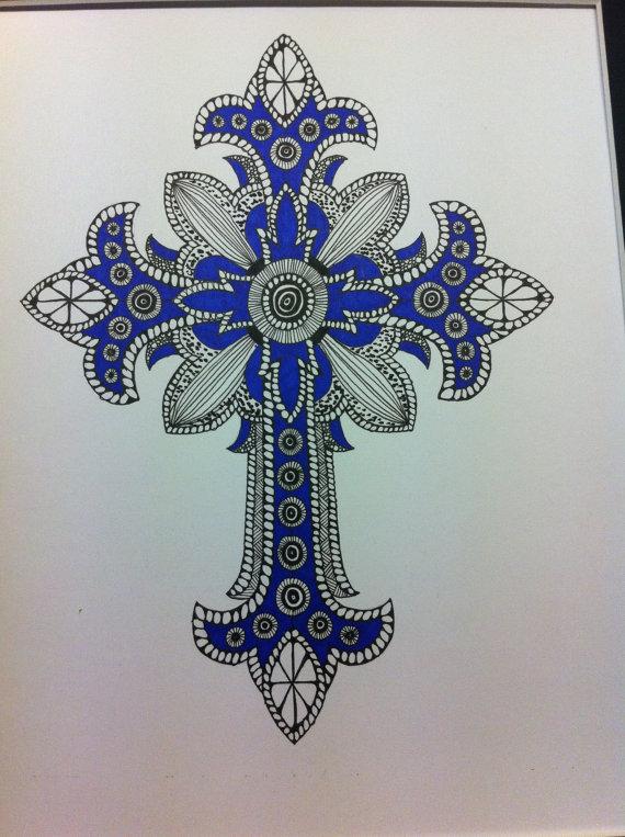 570x763 Zentangle Inspired Art Ornate Cross Drawing