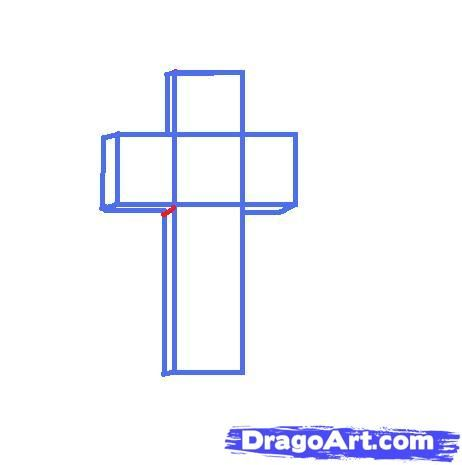 462x465 Amazing Drawing Pictures Of Crosses Draw A 3d Cross Step By Step