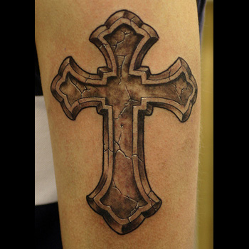 350x350 Collection Of Barbed Tribal Cross Tattoo Design