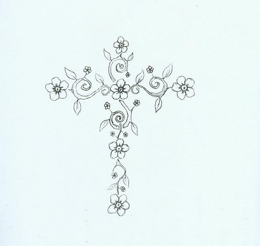 512x485 Flower Cross Drawing