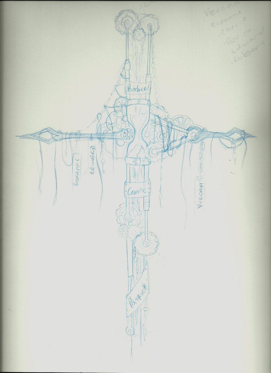 900x1238 Steampunk Cross Tattoo Wip By Awesomeartfreak