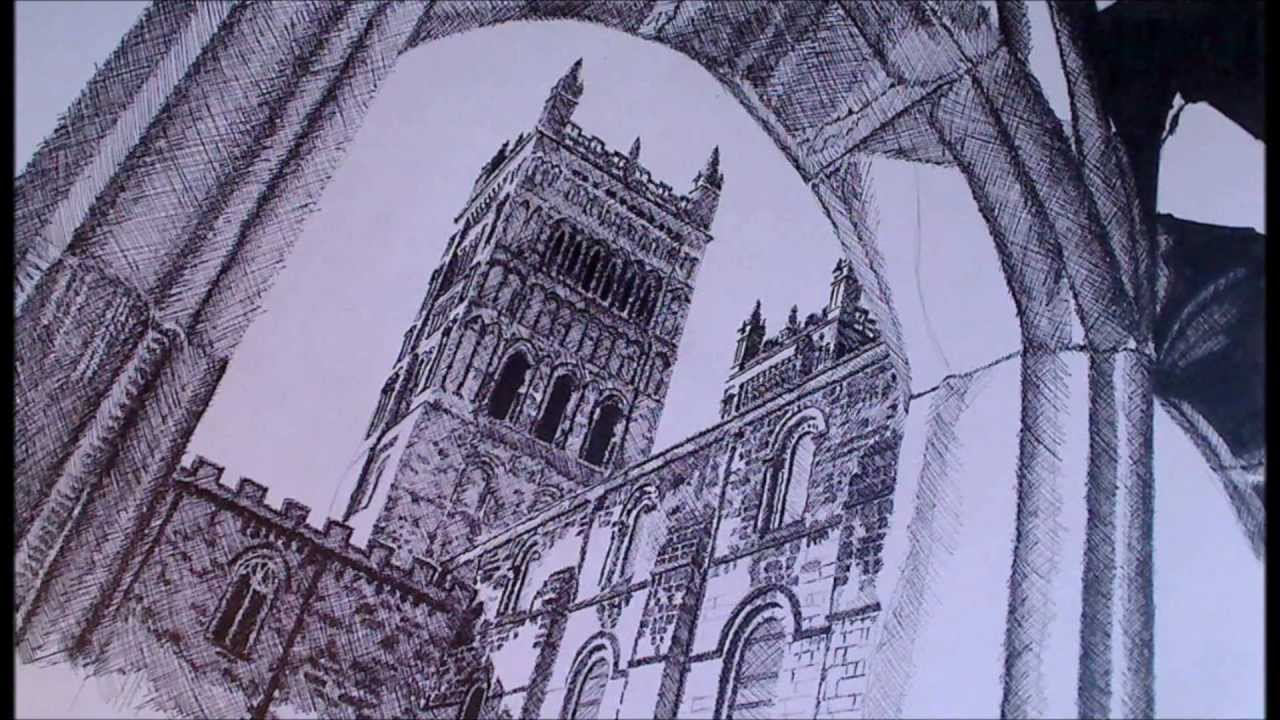 1280x720 Durham Cathedral Speed Drawing Using The Cross Hatching Technique