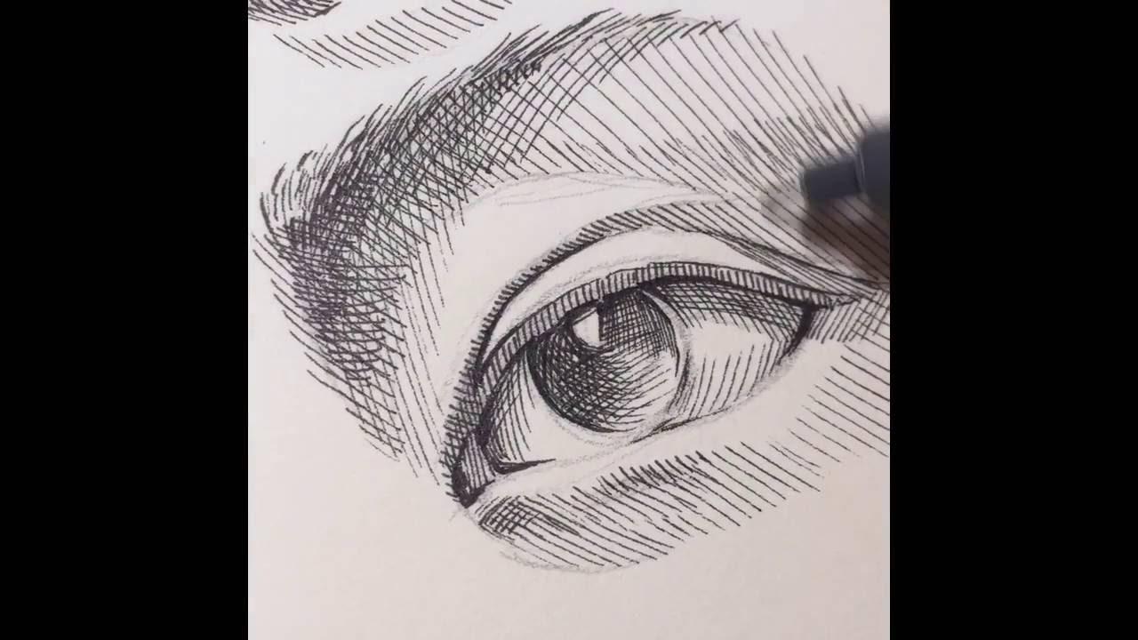 1280x720 Pen Drawing Crosshatching Eyes