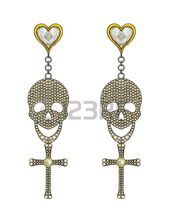 349x450 Jewelry Design Skull Cross Necklace Hand Drawing And Painting