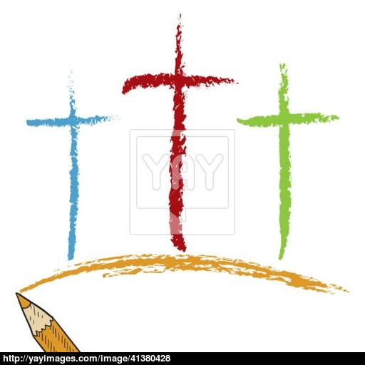 512x512 Calvary Cross Colored Pencil Sketch Vector