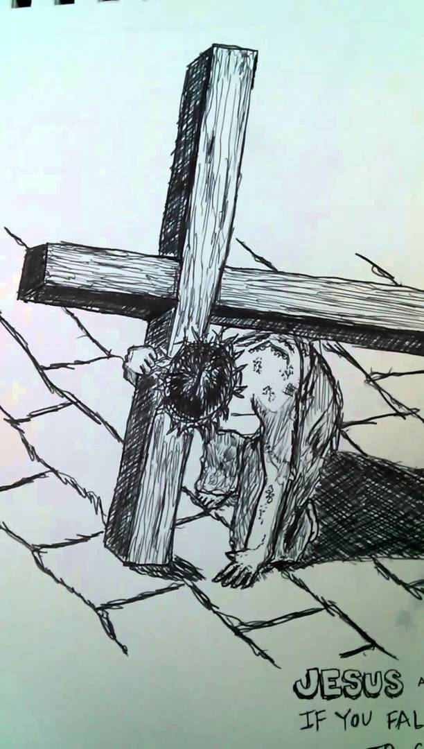 612x1080 Drawing Of Jesus Christ And The Cross