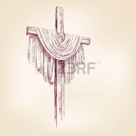 450x450 Hand Drawing Of A Wooden Cross With Purple Cloth Royalty Free