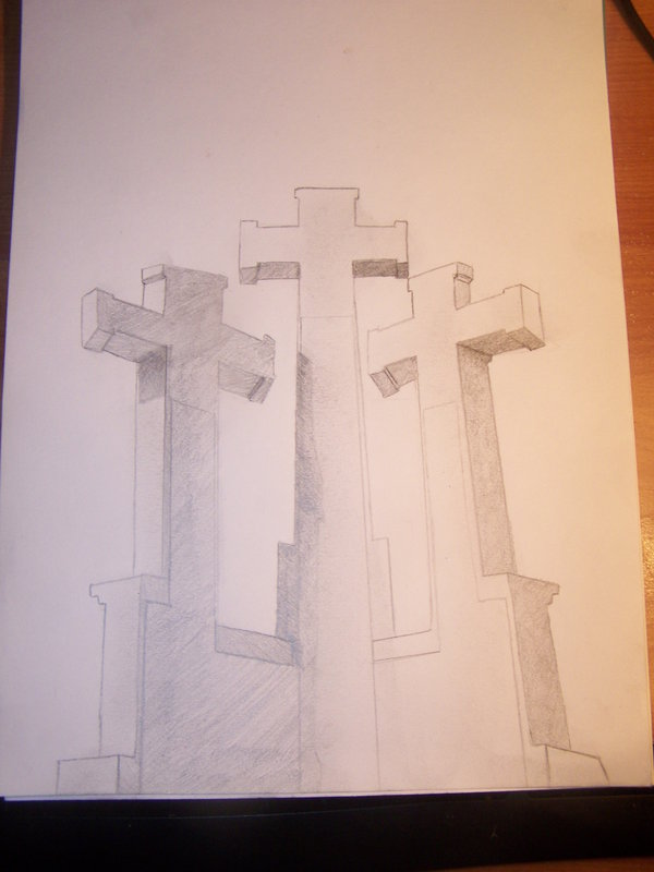 600x800 Hill Of Three Crosses Sketch By Vencividivici