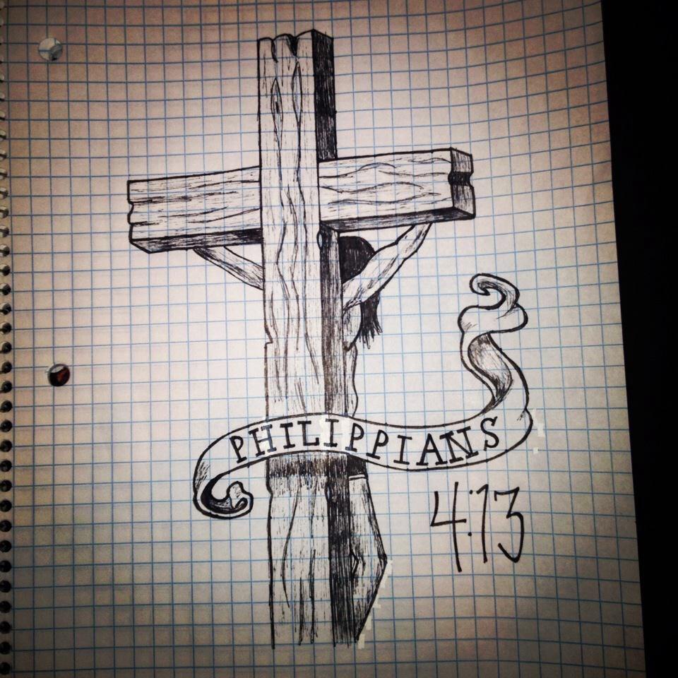 960x960 Tattoo Sketch Drawing Shaded Cross Crucifix Bible Verse Bible