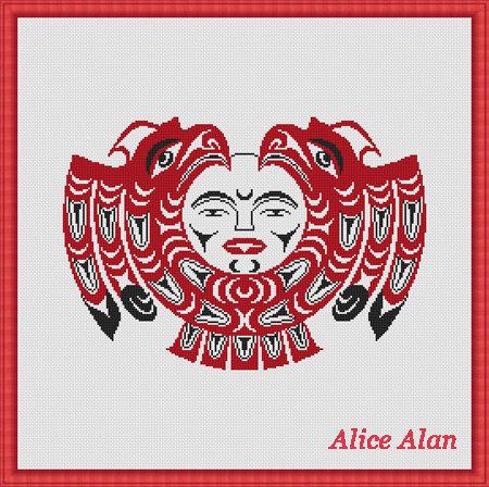 450x448 Cross Stitch Pattern Drawings Haida Indians Sun Eagles Ethnic