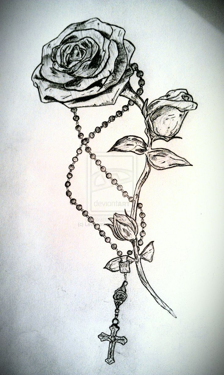 736x1230 Awesome Rose And Rosary Tattoo Drawing By Levilambert