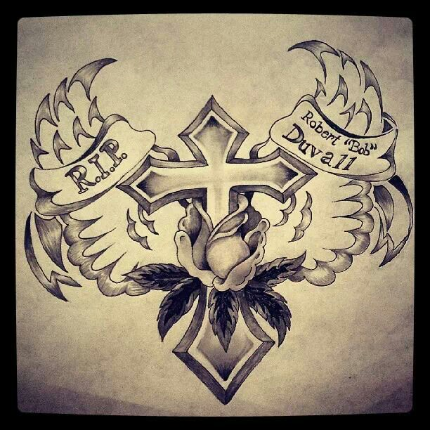 612x612 Cross ,wings, And Rose Tattoo Design Drawn By Chelsie Haeg