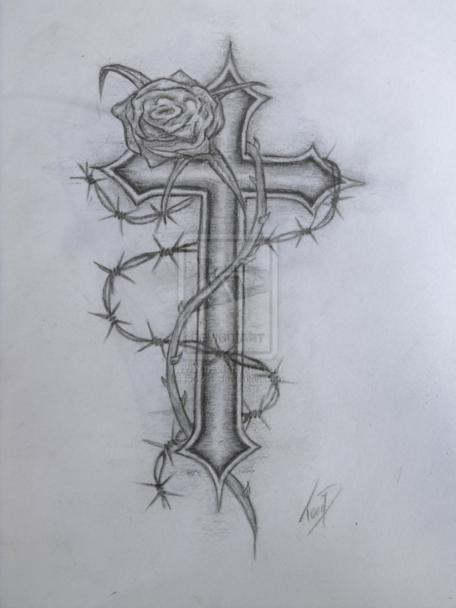 900x1200 Cross With Rose Wraped Tattoo Design Images