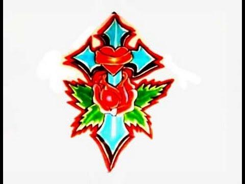 480x360 How To Draw A Cross With A Rose For Tattoos Como Dibujar Una Cruz