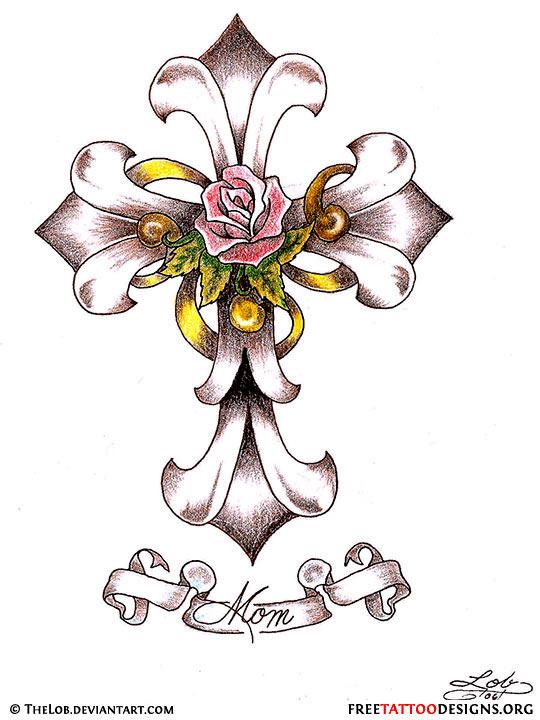 540x720 Ribbon Tattoos With Names 50 Cross Tattoos Tattoo Designs