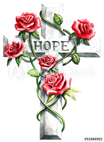 367x500 Pink Red Roses And Green Vines On Stone Gray Cross With Carved