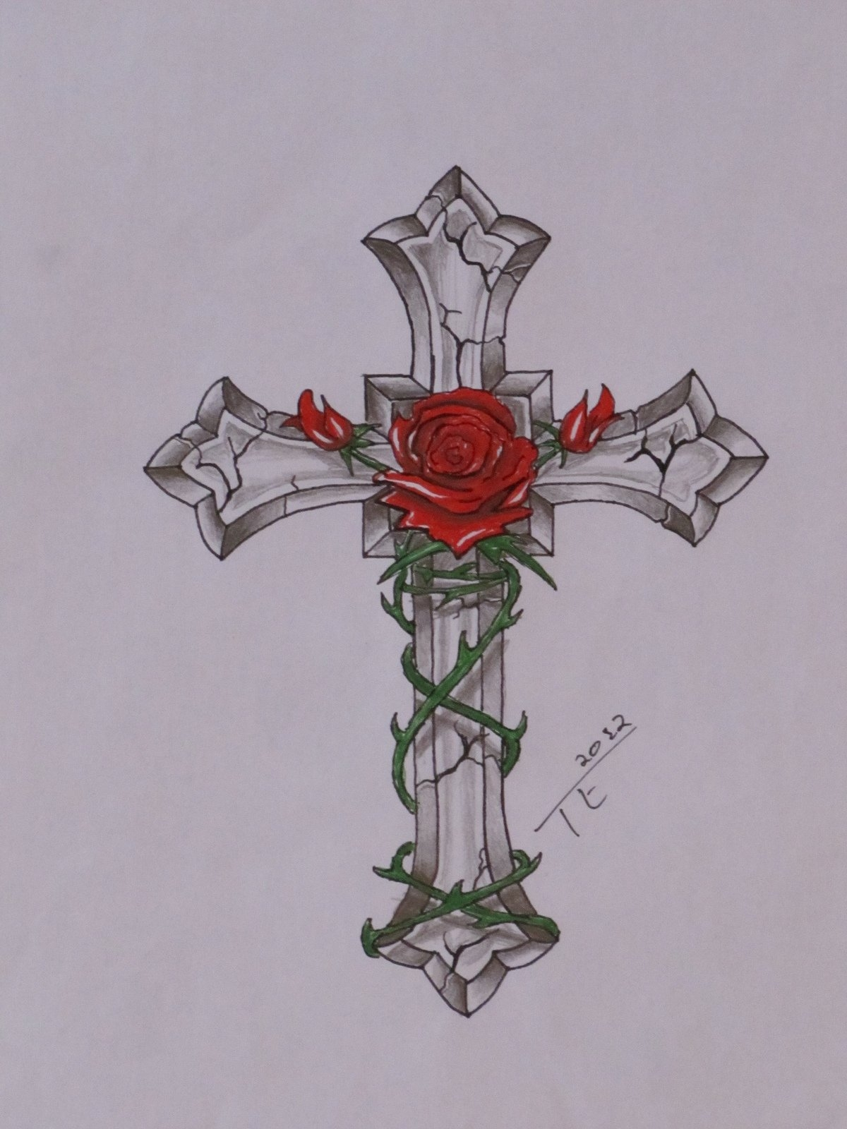 1200x1600 Cross Designs With Banner And Roses Free Design Templates