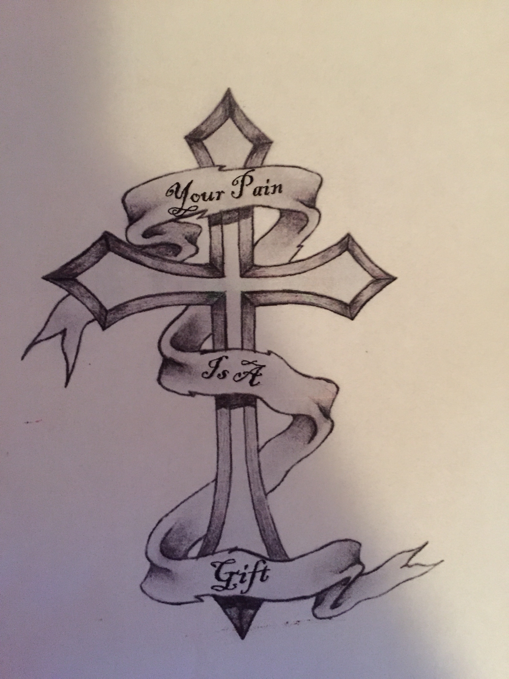 1000x1334 Male Tattoo. Cross. Banner. Your Pain Is A Gift. Tattoos