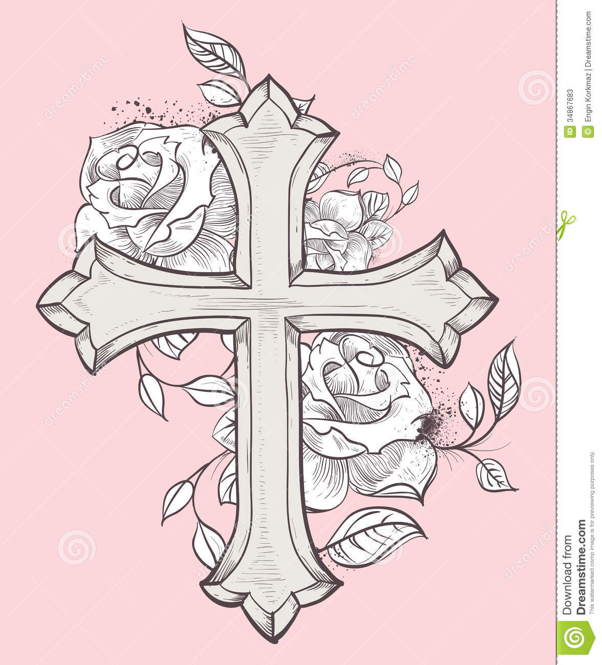 1176x1300 Pix For Gt Cross With Roses And Banner Tattos I Lt3