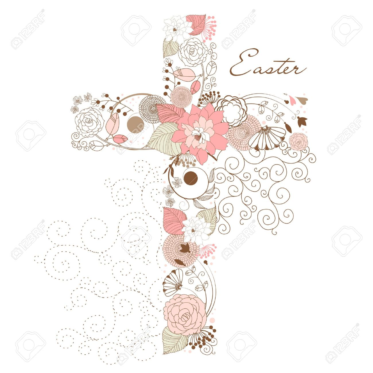 1300x1300 Beautiful Cross Made From Flowers Royalty Free Cliparts, Vectors