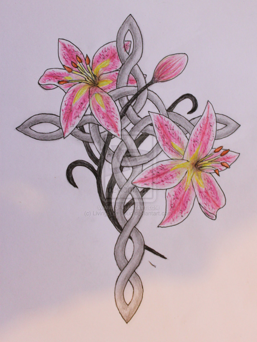 900x1196 Celtic Cross With Lily Flowers Tattoo Design By Jamie Plant
