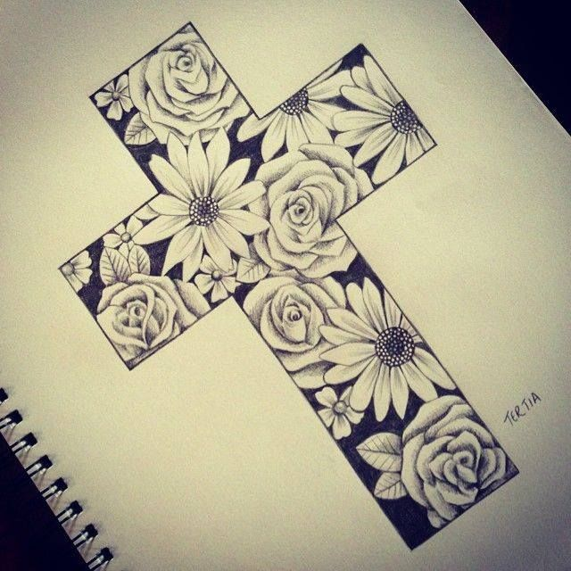 640x640 Cross W Flowers Drawing Drawings Art Drawings